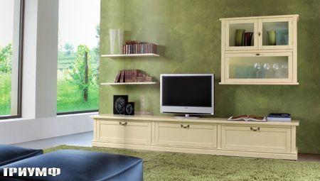 Итальянская мебель Tonin casa - стенка под тв в бежевом лаке из массива