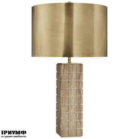 Американская мебель Visual Comfort & Co - Pietra Large Hand Carved Table Lamp in Limestone with Antique Burnished Brass Shade