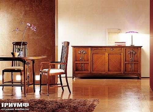 Итальянская мебель Medea - Стол и стулья из коллекции Liberty с деревянным накладным орнаментом
