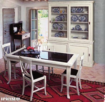 Итальянская мебель Tonin casa - стол и буфет в крашенном дереве