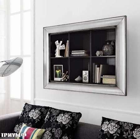 Итальянская мебель Flai - стеллаж открытый с барочной рамой в серебре и крашенном дереве
