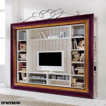 Итальянская мебель Flai - стенка под тв в широкой раме, золото, лак
