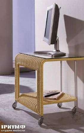 Итальянская мебель Varaschin - Тумба ТВ плетенная на колёсах