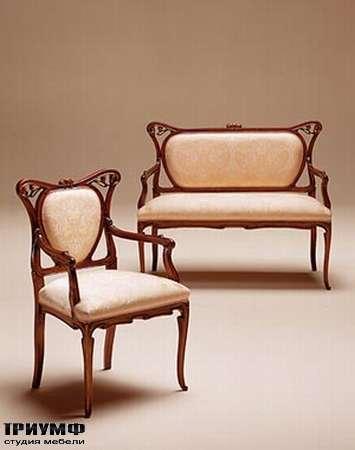 Итальянская мебель Medea - Диван с резной спинкой из дерева, кресло