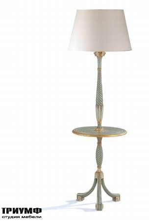 Итальянская мебель Chelini - Классический торшер с журнальным столом из дерева арт.720