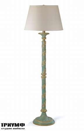 Итальянская мебель Chelini - Торшер с цветочным орнаментом, голубое с золотом
