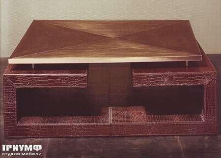 Итальянская мебель Rugiano - Стол журнальный квадратный Twins, материал – кожа, металл
