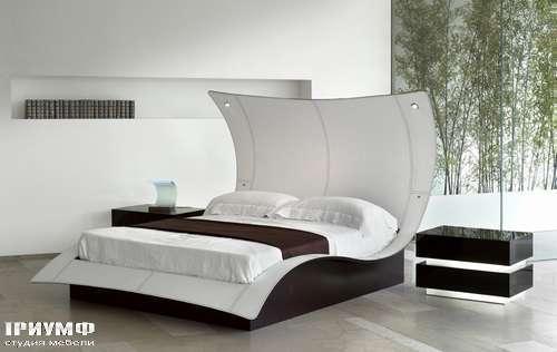 Кровать с полукруглой спинкой butterfly в коже new