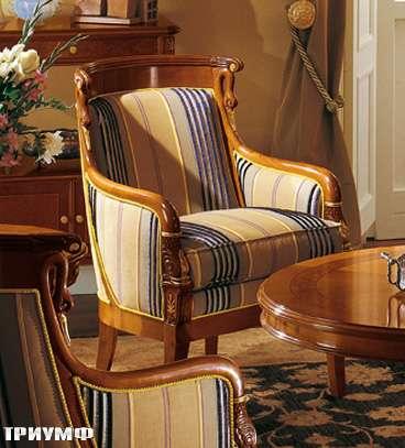 Итальянская мебель Colombo Mobili - Кресло в имперском стиле арт.159 вишня мягкое сиденье