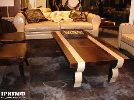 Итальянская мебель Rugiano - Стол журнальный прямоугольный в коже Doki