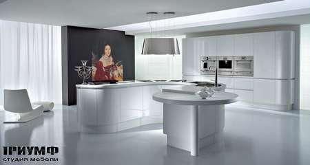 Кухня полукруглая, Arktica, белый лак