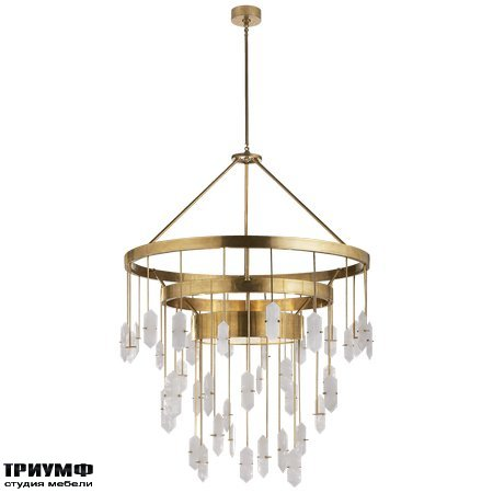 Американская мебель Visual Comfort & Co - Halcyon Large Three Tier Chandelier in Antique Burnished Brass with Quartz