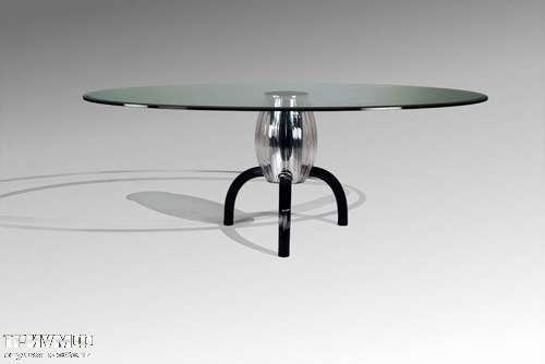 Итальянская мебель Reflex Angelo - Стол стеклянный на одной ноге sumo nero