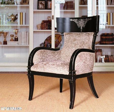 Итальянская мебель Tonin casa - полукресло в крашенном дереве с узором