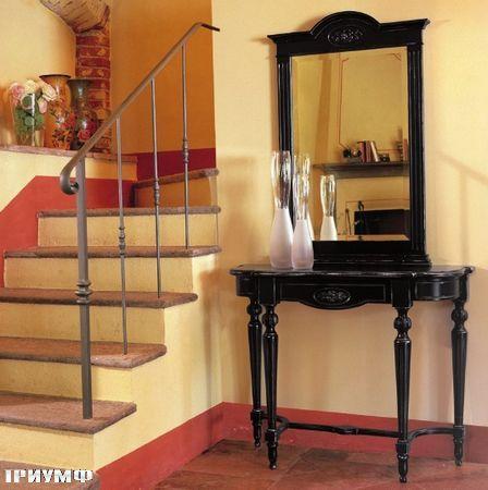 Итальянская мебель Tonin casa - высокая консоль и зеркало в окрашеном дереве
