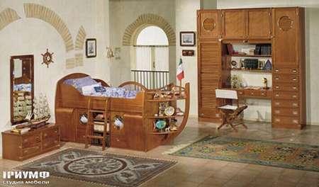 Итальянская мебель Caroti - Кровать корабль со штурвалом коллекция CMA