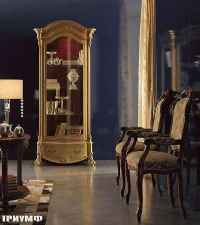 Итальянская мебель Grilli - витрина золотоя с ручной росписью