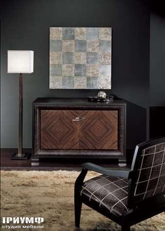 Итальянская мебель Smania - Комод Domino Deluxe венге, палисандр, кожа