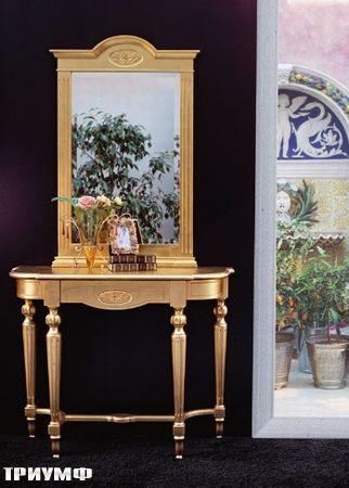 Итальянская мебель Tonin casa - консоль и зеркало в отделке золото