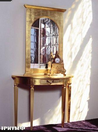 Итальянская мебель Tonin casa - консоль и зеркало в сусальном золоте