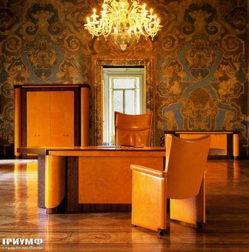 Итальянская мебель Mascheroni - Стол  Planet с двумя тумбами, кожа