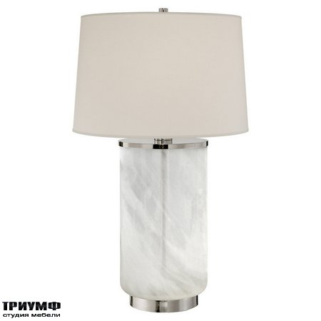 Американская мебель Ralph Lauren Home - LINDEN TABLE LAMP IN POLISHED NICKEL AND WHITE STRIE GLASS