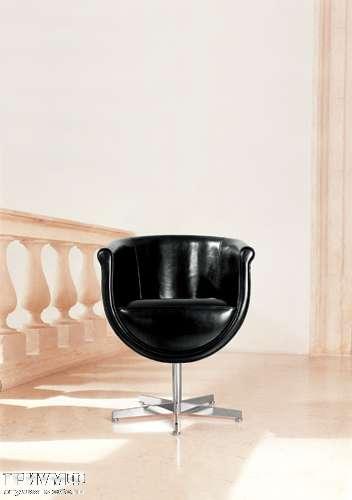 Итальянская мебель Mascheroni - Кресло Compasso поворотное, в черной коже