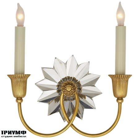 Американская мебель Visual Comfort & Co - Huntingdon Double Sconce in Hand Rubbed Antique Brass and Crystal