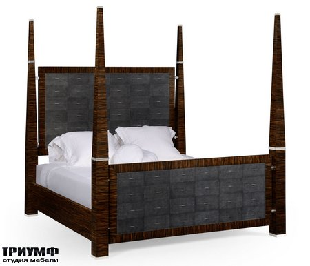 Американская мебель Jonathan Charles - Faux Macassar & Anthracite Faux Shagreen UK Queen Bed