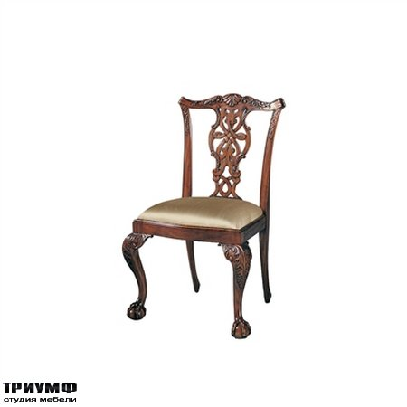 Американская мебель Maitland-Smith - Carved Polished Mahogany Finish Chippendale Side Chair