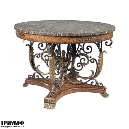 Американская мебель Maitland-Smith - Finely Cast Sherwood Brass and Ash Burl Veneer Center Table