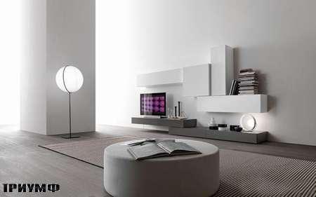 Итальянская мебель Presotto - стенка Modus в сером дубе и лаке