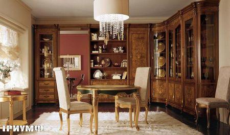 Итальянская мебель Grilli - Стол резной, круглый, стулья с высокой спинкой