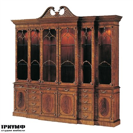 Американская мебель Maitland-Smith - Light Mahogany Georgian Lighted Triple Breakfront China Cabinet