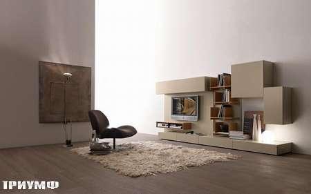 Итальянская мебель Presotto - стенка Modus с бежевом лаке