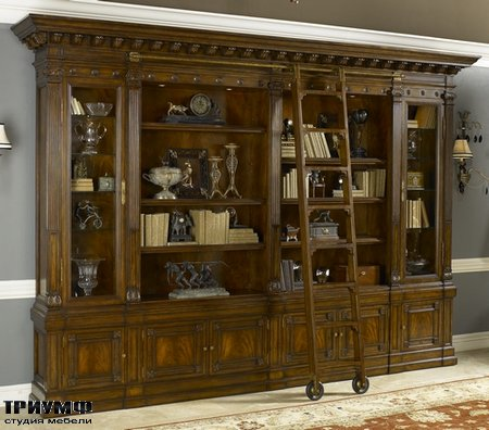 Американская мебель Maitland-Smith - Napoleon Brown Finished Bookcase with Ladder