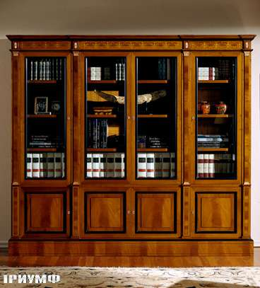 Итальянская мебель Colombo Mobili - Книжный шкаф в имперском стиле арт.130.2 кол. Scarlatti