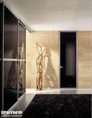 Итальянская мебель Longhi - Дверь распашная Wind, черное лаковое стекло