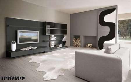 Итальянская мебель Presotto - стенка в сером дубе с подсветкой