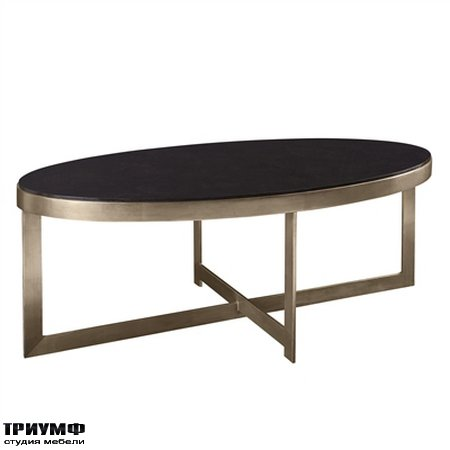 Американская мебель la Barge - Silver Gilded Iron Cocktail Table with Black Penshell Inlaid Top