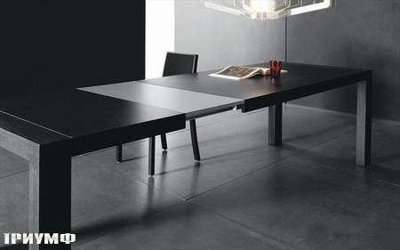 Итальянская мебель Presotto - стол Opla в разложенном состоянии,  серый дуб