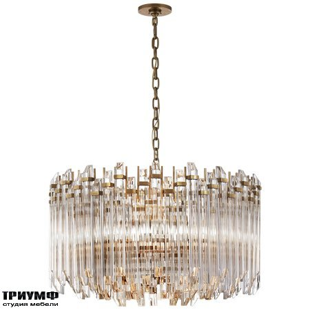 Американская мебель Visual Comfort & Co - Adele Large Wide Drum Chandelier in Hand Rubbed Antique Brass with Clear Acrylic