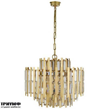 Американская мебель Visual Comfort & Co - Ambrois Medium Chandelier in Hand Rubbed Antique Brass with Crystal