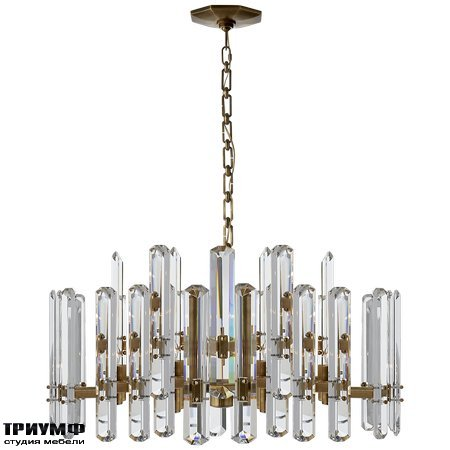Американская мебель Visual Comfort & Co - Bonnington Large Chandelier in Hand Rubbed Antique Brass with Crystal