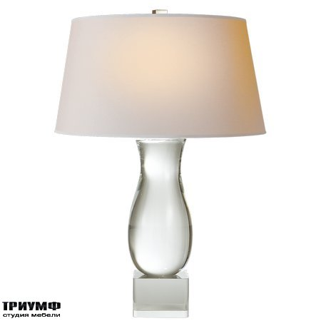 Американская мебель Visual Comfort & Co - Chubby Baluster Form Table Lamp in Crystal with Natural Paper Shade