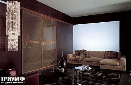 Итальянская мебель Longhi - Раздвижная перегородка Wind, рамка орех, стекло