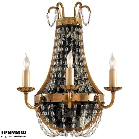Американская мебель Visual Comfort & Co - Paris Flea Market Sconce in Antique Burnished Brass with Seeded Glass
