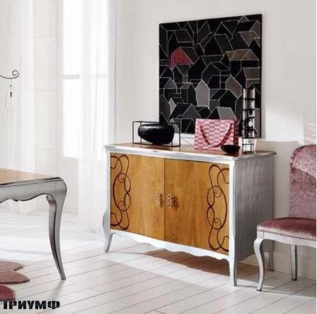 Итальянская мебель Flai - комод Hampshire с орнаментом с сусальным серебром