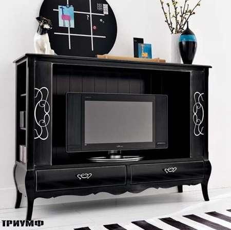 Итальянская мебель Flai - комод по плазму, классика черный