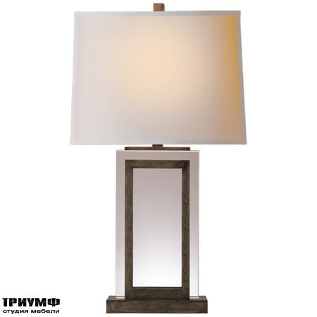 Американская мебель Visual Comfort & Co - Crystal Panel Table Lamp in Sheffield Nickel with Natural Paper Shade